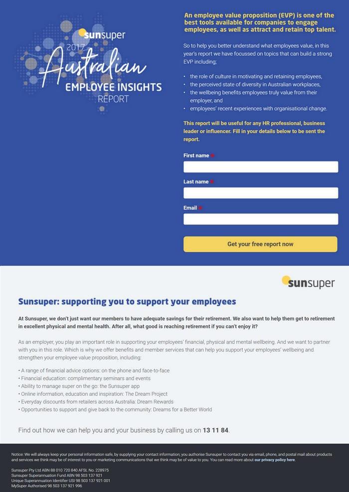 Sunsuper Landing Page