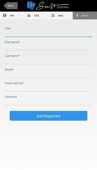 Event App Add Registrant