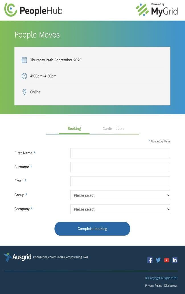 Ausgrid Appointment Calendar