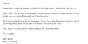 senior level apology email