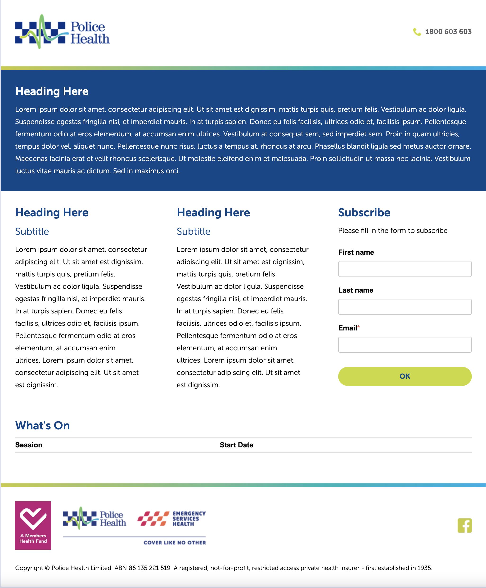 Police Health Landing Page Swift Digital