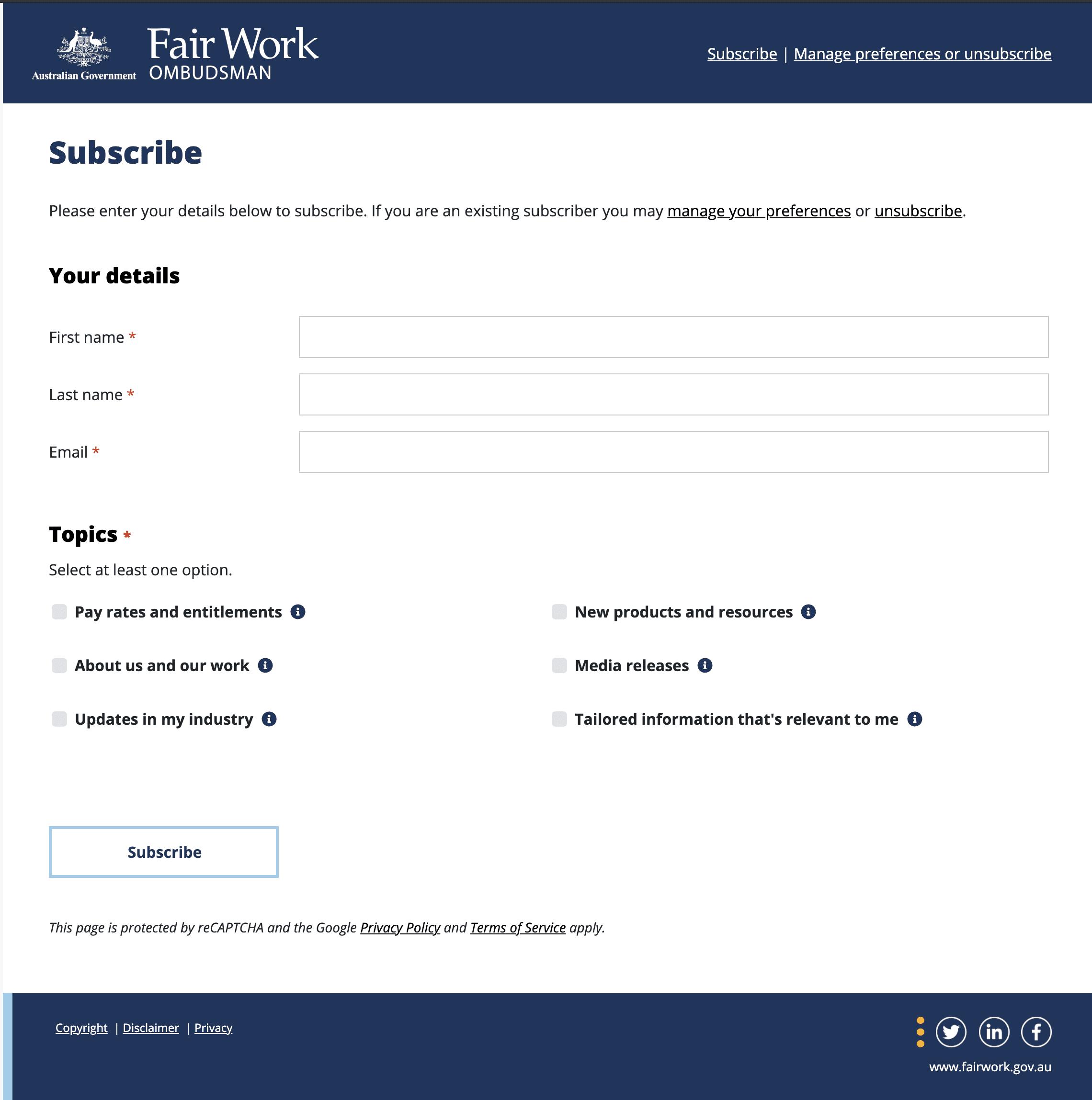 Fairwork Ombudsman Subscription Preference Centre Swift Digital