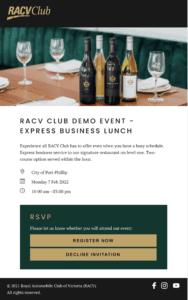 RACV Club Invitation Swift Digital