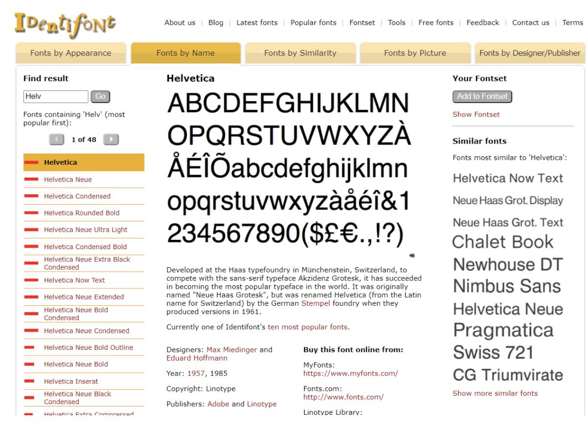 Identifont software screenshot